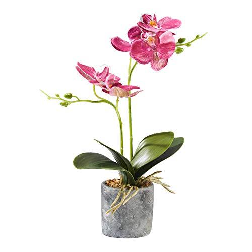 Alicemall Kunstpflanze Orchidee Künstliche Blumen aus Kunststoff Deko Kunstbulme mit Übertopf Garten Balkon Wohnzimmer Hochzeit(Lila)