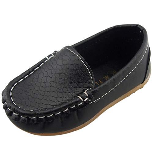DADAWEN Unisex-Kinder Espadrilles Mocassin Leder Schuhe-Schwarz 36 Leder Mocassin