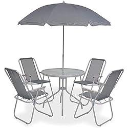 tidyard 6 pcs Mobilier de Jardin avec 1 Table, 4 Chaise Empilable et 1 Parasol Gris
