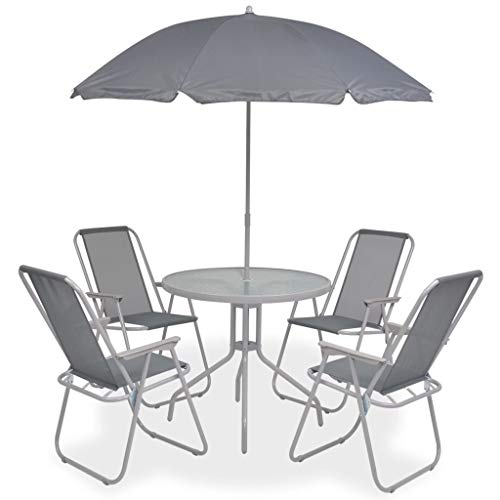 Petit Mobilier De Jardin Avec Parapluie Pliable Table D'extérieur Et 4 Chaises