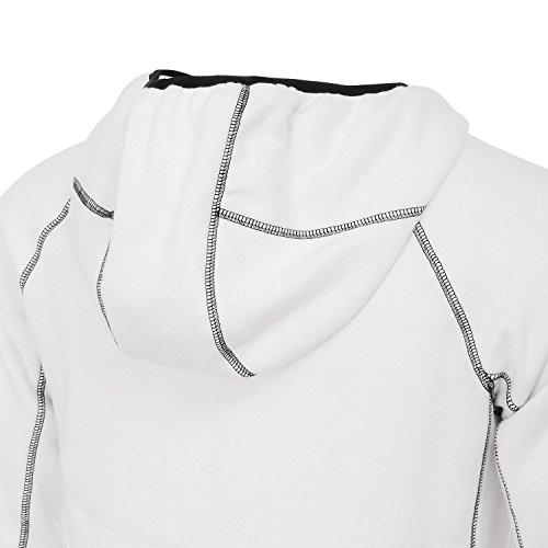 AIRAVATA Moda Uomo Felpe Del Manicotto Di Raglan Felpa Con Cappuccio Tuta Sportiva Del Cappotto US Taglie Bianco