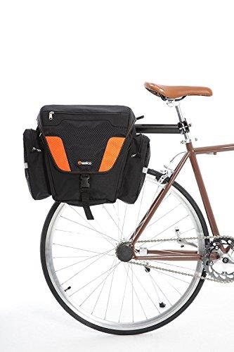 Walco MOVePAK Seitenkoffer Doppeltaschen - 2 x 28 Liter Kapazität Fahrradhalterung mit verstellbaren Trägern und Regenhülle (Orange)