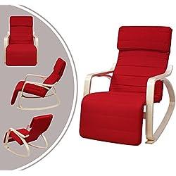Leogreen - Rocking Chair , Fauteuil a Bascule, Rouge, avec repose-pied, Coussin 100% coton, Materiau du coussin: Coton, epaisseur des accoudoirs: 2,3 cm
