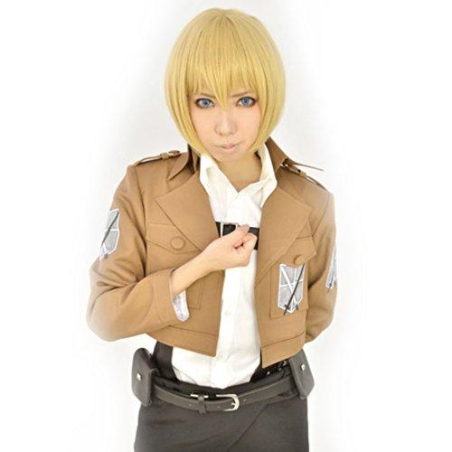 Amybria 12 'court blond fonc¨¦ attaque de titane Armin Arlart Anime Cosplay