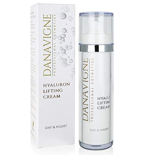 DANAVIGNE Hyaluron Creme Gesicht & Augen - Hyaluronsäure Creme hochdosiert gegen Falten und Augenringe - Anti Aging Gesichtscreme für Männer und Frauen -1er Pack (1 x 50ml) - Eye Lifting Serum