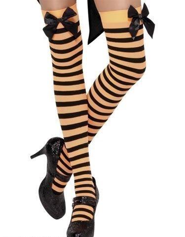fte Halterlose Strümpfe mit Schleife für Verkleidungen Rot/Weiß/Orange/Schwarz/Grün/Pink/Blau Gestreift - Orange/Schwarz, Einheitsgröße (Pink Und Orange Gestreiften Socken)