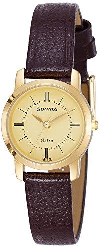 Sonata Analog Champagne Dial Women's Watch-87018YL01C