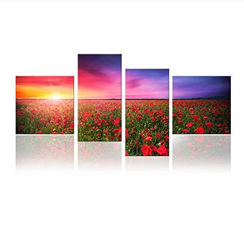 MXmama 4 Panel Floral Kunstwerk Flower Field Red Poppies Leinwand Kunst, Sonnenuntergang Landschaftsmalerei 40X40Cmx2 30X60Cmx2 Kein Rahmen -