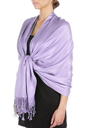Sakkas Silky Feste weiche Pashmina Schal Wrap Stola - Lavendel (Wraps Schal)
