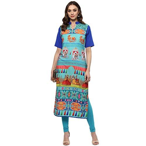 Ziyaa women's Multi Colour Straight Crepe Digital Print Kurta (ZIKUCR2081)