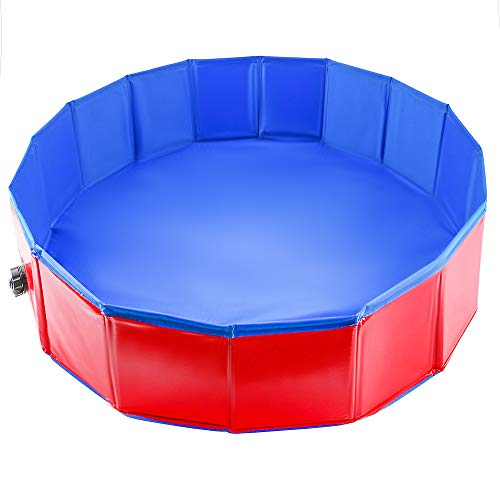 Pet Mania Faltbares Hundepool, Planschbecken Groß 160X30cm - Robustes, Hochwertiges PVC mit Verstärkten Oxford-Wänden - Haustier Schwimmbecken, Badewanne, Welpen Katzen Kinderpool Doggy Pool -