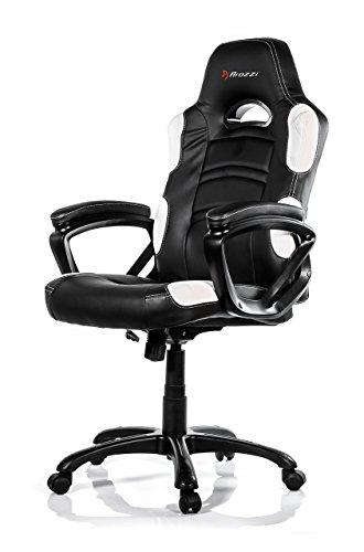 Arozzi - Enzo sedia da Gaming, Nero Bianco, 50 x 55 x 130