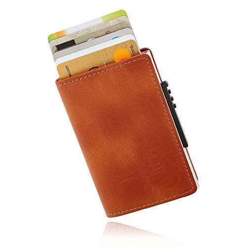 | KARTENVILLA | - Kreditkartenetui Kartenetui Kreditkartenhülle Portmonee Gelbeutel Geldklammer Slim Wallet mit RFID Schutz Braun Schwarz Grau (Hellbraun)