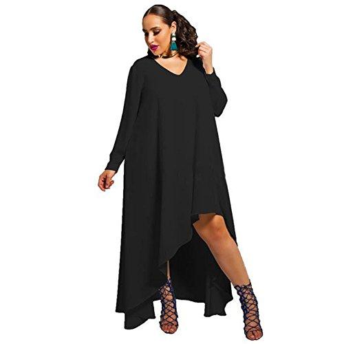 Robe Longue Asymétrique Très Ample et Fluide Noir