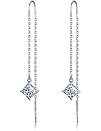 Meyiert 925 Sterling Silver and Zirconia Needle Drop Threader Pull Through Earrings for Womens