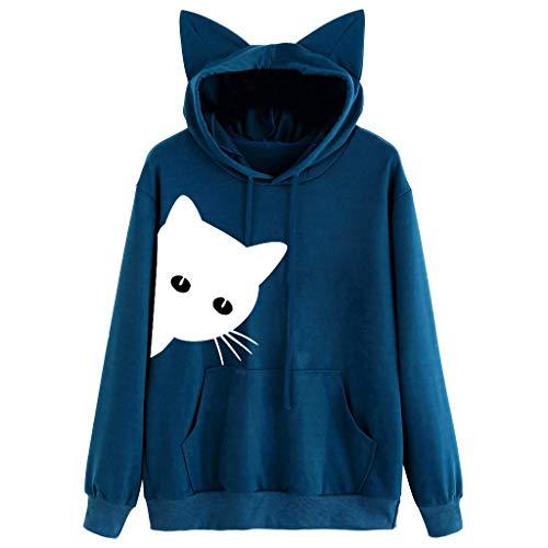 Lingyan felpe con cappuccio orecchie di gatto gatto stampa felpa con maniche lunghe da donna moda felpa con tasca felpa con cappuccio casual top