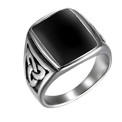 JewelryWe Schmuck Herren-Ring, Irischen Dreiecksknoten Trinity Keltisch Knoten Siegelring Edelstahl Emaille Ringe, Schwarz Silber, Größe 54