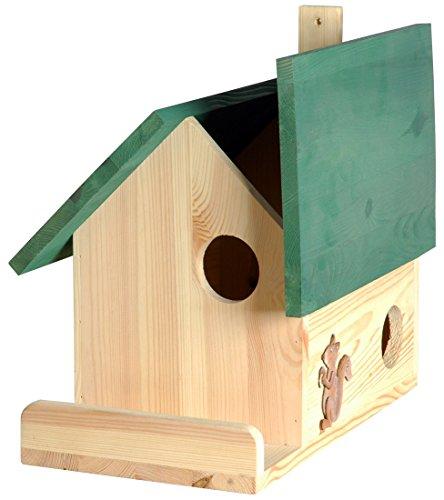 Luxus-Insektenhotels 22218e Hochwertige Eichhörnchenkobel mit 3 Eingängen, Terrasse und Zier-Hörnchen (Eichhörnchenhaus)