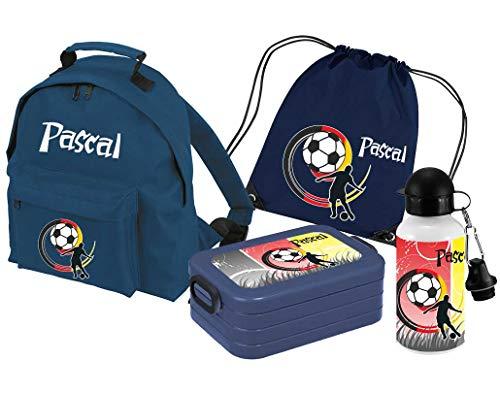 *Mein Zwergenland Set 5 Kindergartenrucksack Classic und Brotdose Lunchbox Maxi, Turnbeutel + Trinkflasche mit Name Fußball, 4-teilig, Navy*