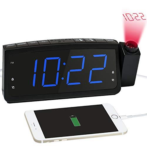 Projektionswecker, Radiowecker mit Projektion, Dual-Alarms Digital Wecker Funkuhr mit USB-Ladeanschluss, Schlummern/Snooze Funktion
