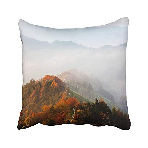 Emvency Village Huangshan County Anhui Province in Qiaoxian Autumn Color Chinese People Country Countryside Forest Throw Pillow Covers 18