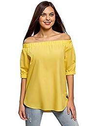 682b0f1d5e7c Amazon.it  Camicia spalle scoperte - Giallo   Bluse e camicie   T ...