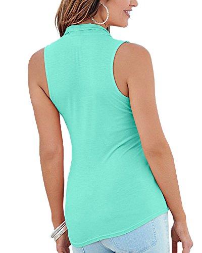 Minetom Femmes Mode Sans Manches Gilet Mousseline De Soie Tops Été Sexy Chemisier T-Shirts Vert