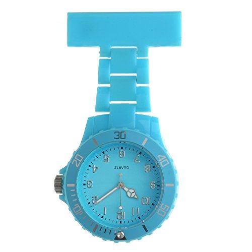 Ellemka JCM-2102 - Schwesternuhr Clip zum Anstecken FOB Kittel Krankenschwester Pflege-r Quarz Puls-Uhr Taschen Hänge-Band Ansteck-Nadel Neon Fashion Trend Design - Helblau Blue (Ausgestattet Damen-kittel)