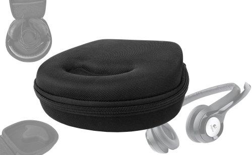 Etui rigide avec coque de rangement noire pour casque audio Logitech USB Headset H390, Dialog-220 et ON.EARZ Swagg M Pokora, Behringer HPM1000 - DURAGADGET
