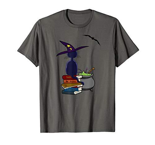 Dame Alte Katze Kostüm - Schwarze Katze, Alte Bücher Und Hexenkessel Halloween  T-Shirt