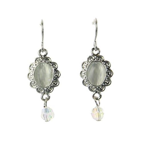 Vintage antiguo–Pendientes joyas–pendientes con piedra col