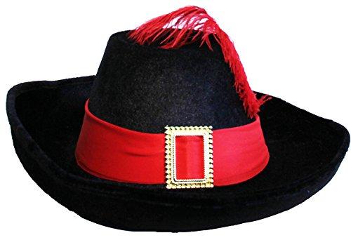 Generique - Chapeau Mousquetaire Noir et Rouge Adulte