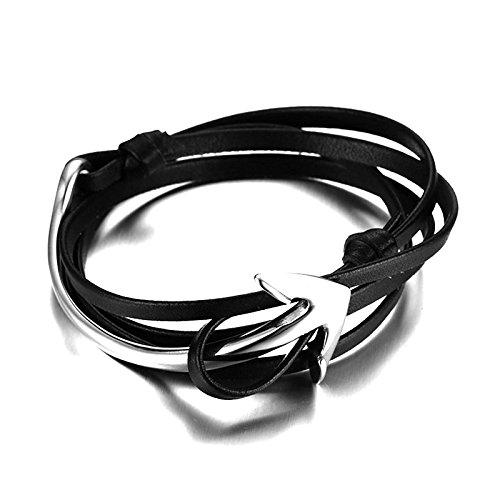 Miomi Herren Ankerarmband Sleeve aus Nappaleder & Edelstahl