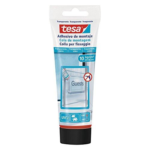 tesa 77932–00001–00–Montageklebstoff für Oberflächen Transparent und Glas (10kg/cm2, DIN EN 205)