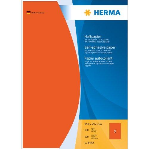 HERMA 4482 - Etiqueta autoadhesiva (Rojo, A4)