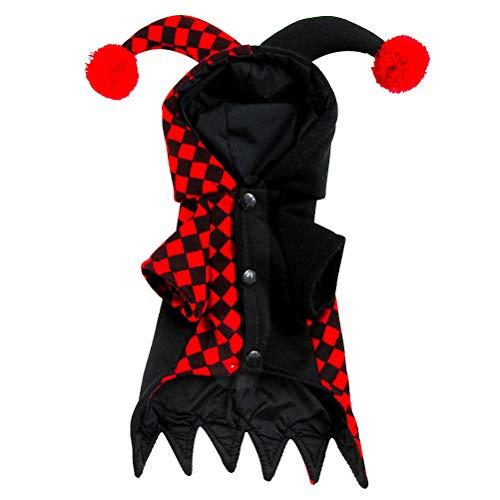austier mit Kapuze Clown Kostüm für kleine Hunde und Katzen Halloween Party Cosplay Größe L (schwarz und rot) ()