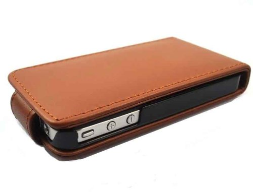 Esecutivo Brillante di Apple iPhone 4 4S Brown copertura di vibrazione PU Custodia in pelle per Apple iPhone 4 4S