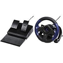 uRage Lenkrad für PC (Gaming Lenkrad mit Pedalen, Schaltung, Vibration, USB-Anschluss, Kabellänge 2m, für Simulator Spiele, Racing Wheel) schwarz/blau