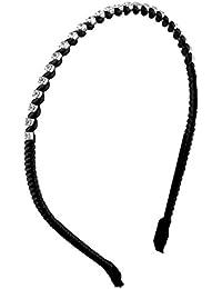 Ladies Faux Rhinestone Detail Slim Twisted Headband Hair Hoop Black
