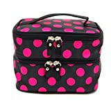 LMRYJQ Kulturbeutel Unisex Kulturtasche zum Aufhängen Herren & Damen | Kosmetiktasche groß Männer Frauen für Koffer & Handgepäck | Zweischichtige Wave Point Kosmetiktasche (Black hot pink)