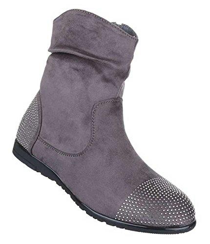 Damen Stiefel Stiefeletten Schuhe Mit Strass Schwarz Grau Rot 36 37 38 39 40 41 Grau  [B01N3YHM91]