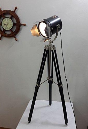 THORINSTRUMENTS Thor Instrumente. CO Vintage Theater Searchlight & Stativ Ständer Strahler mit Holz Stativ Licht schwarz -
