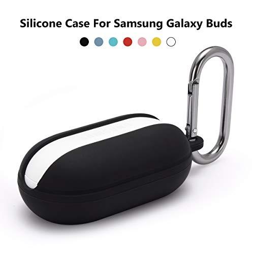 Custodia Cover Samsung Galaxy Buds,Teyomi Custodia in silicone morbido anti-perdita e antiurto per Samsung Galaxy Buds con spina antipolvere e moschettone (Black)