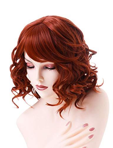 AYSAN Pelucas sintéticas cortas de color rojo ondulado, para mujer, disfraz de fiesta rojo