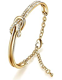 NinaMaid Clear Swarovski Crystals Element Bracelet Simple Knot Design Oval Shaped Gold Plated Bangle 7 Inches (Gold)