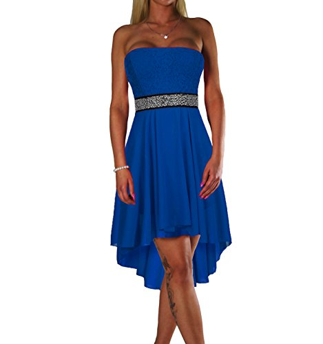ALZORA Damen Kleid Bandeau TOP Abendkleid EDEL Cocktail Party BALLKLEID MIT Spitze Sommer Rock Sommer Kleid TANZKLEID, 10601 (S, Royalblau)