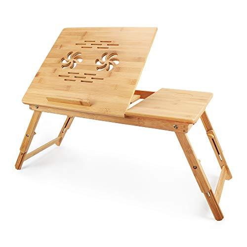 Todeco - Mesa Portátil para Laptop, Bandeja de Cama Plegable - Material:...