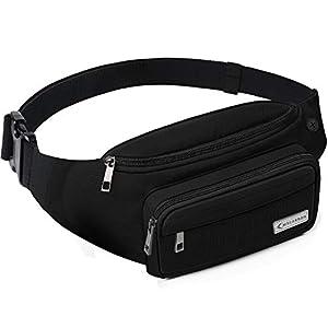 MYCARBON Bum Bag Large Capacity,Non-bounce Travel Waist Pack,Non-slip Cotton Belt Waist Bag for Women Men,Durable Waist Pouch Belt Bag for Walking,Holidays,Hiking,Cycling,Running,Outdoor Sport-Black