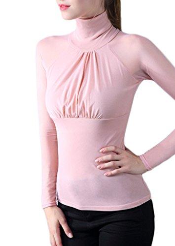 Smile YKK Chemise Femme Tulle T-shirt Manches Longues Col Montant Pull Top Blouse Soirée Elégant Rose