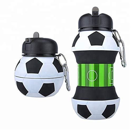 Borraccia pieghevole in silicone a forma di calcio da 550ml / 19oz con moschettone, senza BPA, a prova di perdite, bottiglia portatile ideale per lo sport, le attività all'aria aperta e la scuola